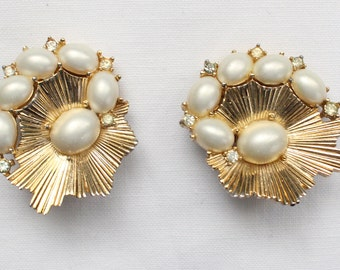 BNE # 118 Unique Vintage Signed Crown Trifari Large Etched Gold Tone Earrings with Pearl Beads and Small Clear Crystal Rhinestones