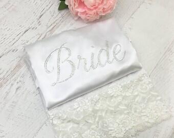 LACE Bride Rhinestone Robe, Bridal Robe, Satin Robe, Bride to Be Robe, Wedding Robe, Rhinestone Robe / RH ENC