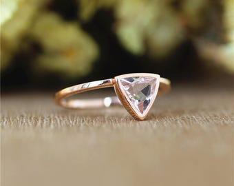 Simple Design Trillion 6mm Pink Morganite Ring in 14K Solid Rose Gold/Wedding&Engagement Ring/Anniversary Ring/Promise Ring/Unique Ring