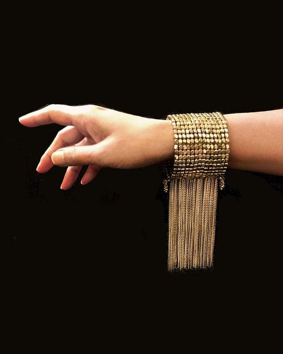 Antique Gold Woven Tassel Bracelet
