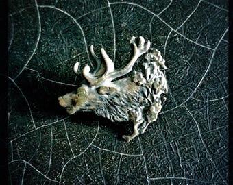 Vintage Silver Pin | Deer | Elk | Caribou | Antique Brooch
