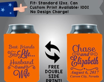 Best Friends For Life Husband and Wife Names Date City State Collapsible Fabric Wedding Can Coolers Cheap Can Coolers Wedding Favors (W315)