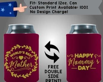 World's Best Mother Mommy's Day Collapsible Fabric Mother's Day Can Cooler Double Side Print (Mom5) Gold Shimmer Ink