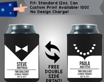 Two Souls But A Single Thought His and Hers Collapsible Fabric Wedding Can Coolers, Cheap Can Coolers,  Wedding Favors (W261)