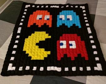 Pac-Man 80s Arcade Game Pixel Blanket