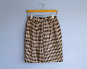 Vintage houndstooth skirt | High waisted checkered skirt | Vintage Banana Republic pleated skirt | Vintage Wool Pencil Skirt | Made In Italy