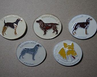 Soviet badges Set of 5 badges 80s Made in USSR Vintage soviet Collectibles Animal badges Dog breeds Collectible badges Dog lover gift