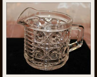 Vintage Windsor Glass Creamer By The Federal Glass Company, Button And Cane Pattern, Pressed Glass Creamer, Retro Glass Creamer