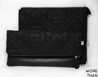 Clutches-fabric and leather clutch