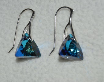 Swarovski Bermuda Blue Triangle Earrings