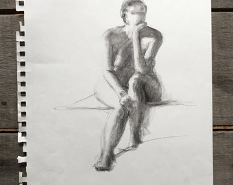 Resting Steady Charcoal Sketch