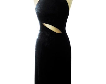 Black long evening in Velvet jersey dress