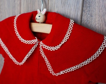 1950s Handmade Red Cordouroy Jacket - 3-6 months