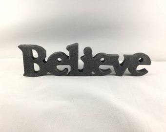 Sign - word (Believe) in Stone Texture