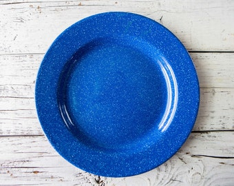 Blue Enamel Plate with With Speckles-Food Photography Prop