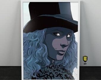 Curly Woman hat hair digital illustration by Alexander Fechner