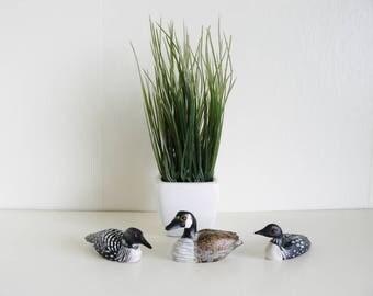 Three Miniature Wood Geese Figurines Handpainted Vintage