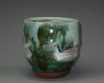 Ceramic Tea Bowl Handmade teacup Pottery yunomi white blue green glaze Ceramic cup Yunomi Japanese Tea Cup Yunomi Tea ceremony Green tea
