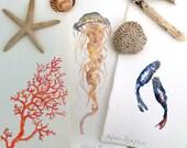 Arte marina / acuarelas originales / acquerelli / original watercolor on cotton paper/ 40 euros each