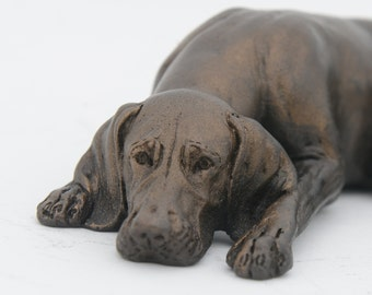 Weimaraner Sleeping - Small Cold Cast Bronze Dog Statue