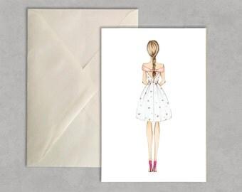A petal for you - fashion illustration, greeting card, fashion card,