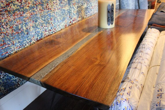 live edge walnut table with polished concrete inlay