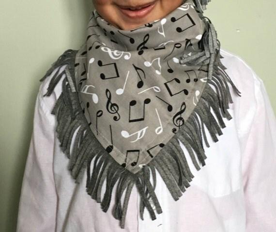 Kid's Musical Print Oversized Cowboy Handkerchief Bandana Bib/Scarf