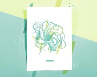 Affiche naturelle | faune marine - poulpe Octopus Vulgaris #OCTOPUS -2-   |  Impression botanique & graphique en édition limitée