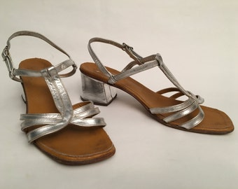 70 silver leather sandals - size 37