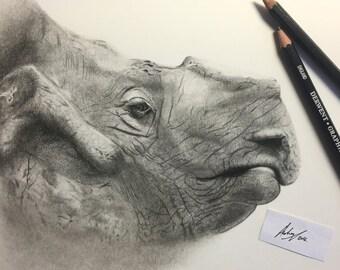 Endangered 1 'Rhino',A4 original illustration artwork