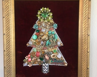 Framed Vintage Jewelry Christmas Tree #30