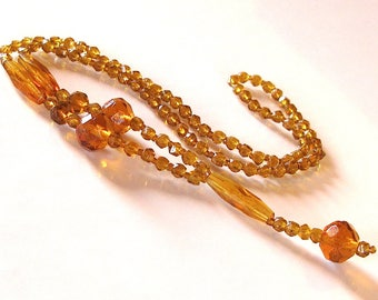 Vintage antique czech art deco amber glass crystal bead flapper necklace 1920'