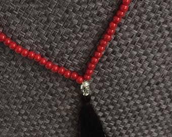 Popular Trendy Bohemian Black Tassel Red beads Long Necklace, Tassel beaded Jewelry, Buddha Mala Gift, Silver Buddha Necklace,