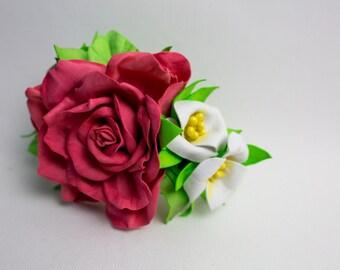 Flower Hair Clip, Brooch, Flower Clip, Bridal Hair Clip, Hair Accessories, Wedding Flower Hair Clip, Bridal Hair Piece,