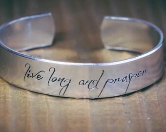 Live Long And Prosper / Star Trek Jewelry / Star Trek Gift / Vulcan Jewelry / Vulcan Gift / Spock Quote Jewelry / Trekkie Gift