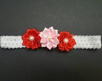 Pink and red dainty flower headband