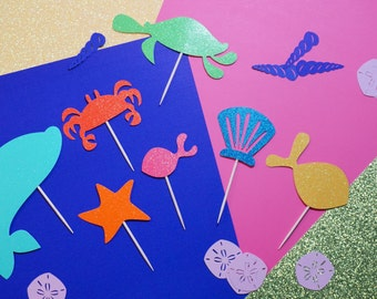 14 Under the Sea Cake or Cupcake Toppers,  Sea Life Cupcakes, Cupcake Toppers, Under the Sea Birthday Party