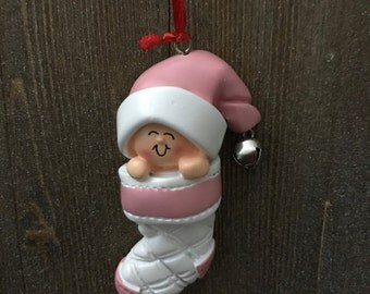 Personalized baby in pink Christmas ornament
