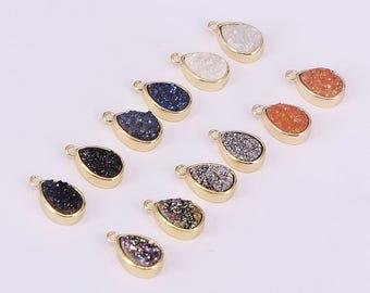 6pcs Drop Druzy Stone Pendant Jewelry, Titanium Druzy Quartz Bezel Pendant Charm