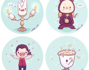 Beauty And The Beast Chibi Stickers Lumiere Cogsworth Chip