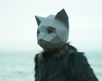 Make Cat Mask, DIY Animal Head, Instant Pdf download, Paper Mask, 3D Polygon Masks,Low Poly,Papercraft Mask,Template,Helmet,Printable, Gift