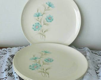 Taylor Smith Taylor vintage 1950s BOUTONNIERE pattern dinner plates with cornflower