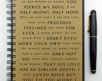 Jane Austen Notebook, Persuasion, Romantic Gift, Quote Notebook, Love Poetry, Writing Journal, Spiral, Lined, Blank, Dot Grid