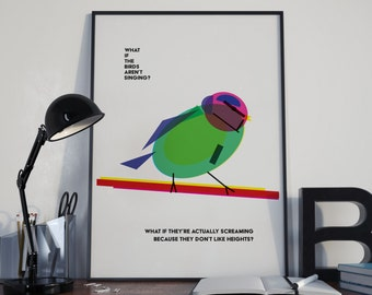What if they're screaming? Geo bird, geometic, minimal, colour, bright, funny, humour, A4, print