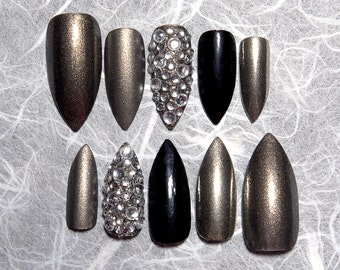 Silver Stiletto Fake Nails | Holographic Nails | Press On Nails | Matte and Glossy Combo Set | Custom Shape and Size