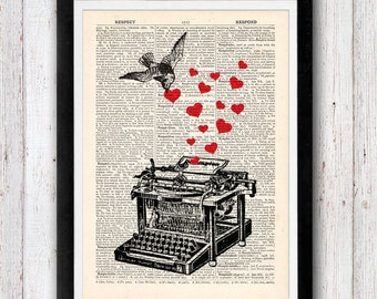 Love Letter Lovebird Vintage Typewriter vintage dictionary page book art print