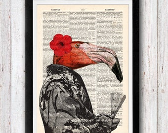 Lady flamingo in Traditional Kimono Bird Dictionary Art Print / Art Wall Art Vintage Dictionary Page Book Art Print