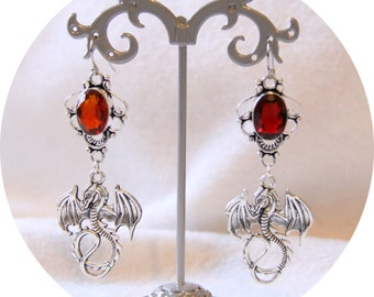 Earrings Red Dragon, silver dragon and Red Ruby Crystal