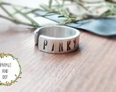 Pinky Promise Ring, Pinky Ring, Hand Stamped Ring,  Adjustable Cuff Ring, Hand Stamped Jewellery,