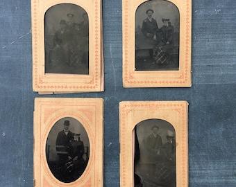 Four Vintage Daguerreotype Tin Type